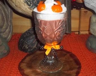 "Fall PUMPKIN SOY CANDLE in Stemmed Cut Glass Goblet 8"" Tall - U Pick Fragrance"