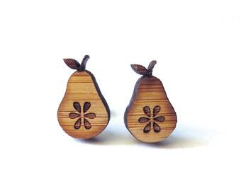 Fresh Pear Earrings. Pear Earrings. Wood Earrings. Stud Earrings. Laser Cut Earrings. Gifts For Mom. Gifts For Her. Gifts Under 20. For Kids