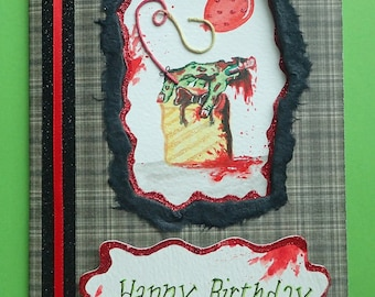 Handmade/Painted Horror/GORY/Zombie Peep-Hole Birthday Card