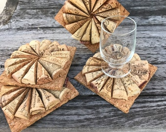 Set of 4 Wine Cork Coasters