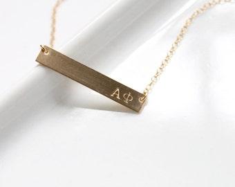ALPHA PHI Necklace / Sorority Necklace / Sorority Bar Necklace /Greek Jewelry / Sorority Jewelry / Sorority Gift /  Licensed Designer