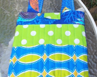 FISH CRAYON TOTE Bag Blue Boys Girls Coloring Activity Tote Bag