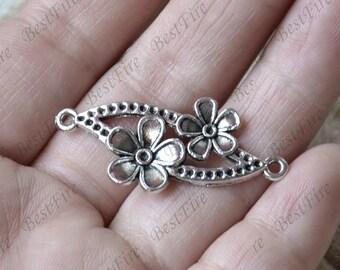 20 PCS Of Antique Silver Flower Connectors Charms  Pendant,pendant beads,Connectors,jewelry findings