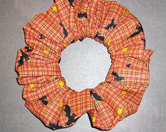 Batty Plaid Hair Scrunchie, Holiday Hair Tie, Autumn/Halloween Ponytail Holder