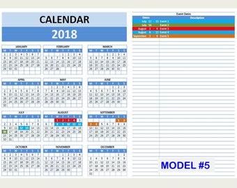 2018 2018 excel calendar