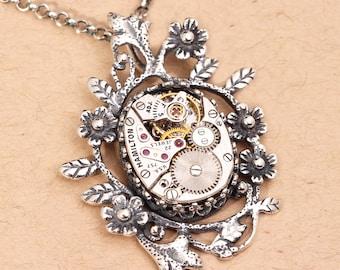 Steampunk Necklace Steampunk Pendant Sterling Silver Necklace Steampunk Jewelry Silver Necklace Steampunk