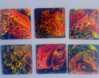 6 Coaster, coasters, hand-painted red and black
