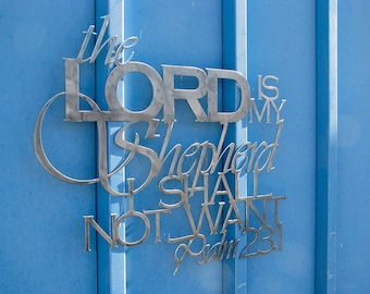 Metal Scripture Wall Hanging- The Lord is my shepherd I shall not want, Psalm 23:1