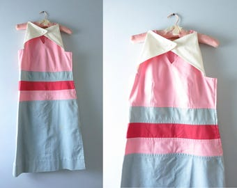 Vintage Courreges Dress | Late 60s Courreges Couture Pink Gray Red Shift Dress S