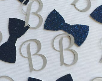 Initial and Bow Tie Confetti - Baby Shower - Little Man Shower