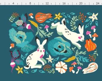 Fabric, rabbits, vegetables, design