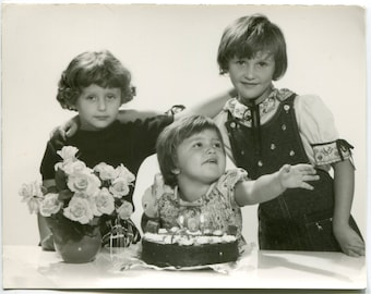 Beautiful 1960's European child photo, boys girls party, friends hugging, five candles, happy birthday, old snapshot, vintage photo #1496