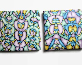 Tile Coaster, Small Tile Trivet, Abstract Pattern in Lavender, Green, Yellow and Blue