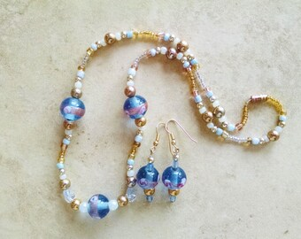 Lampwork necklace earring set, Pink, blue, gold and white lampworked glass necklace and earring set