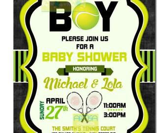 Tennis Boy Baby Shower Invitation, Tennis Baby Shower Invitation, Its a Boy Baby Shower Invitation, Tennis Boy Baby Shower Invitation DIY