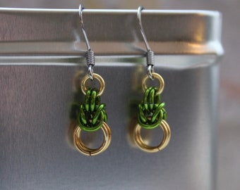 Apple green Byzantine chain maille earrings