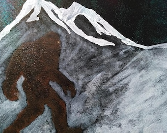 Snowy Mountain Bigfoot Canvas Painting