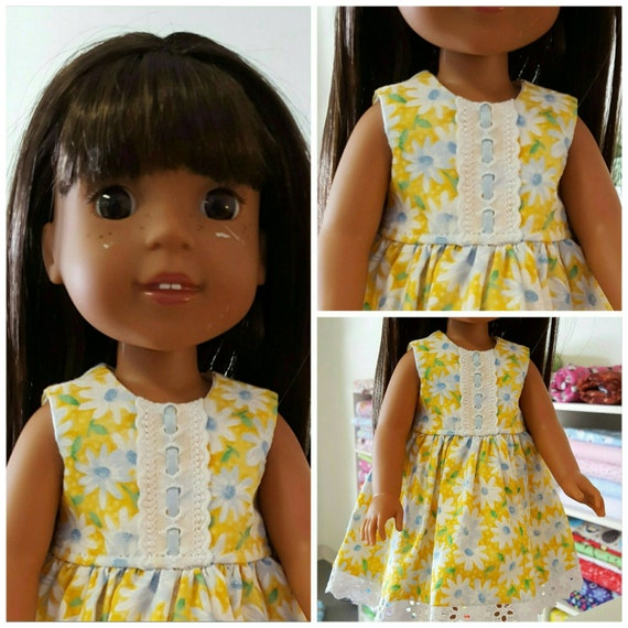 Yellow Flower Dress For the 14 Inch doll