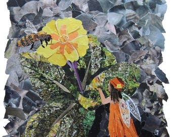 Element Fairy:Earth Magazine Collage With Bee & Primrose