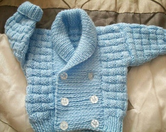 Hand Knitted Baby Boys Shawl Neck, Double Breasted Cardigan. Unique gift for newborn, 0-3, 3-6 and above. Baby shower, baptism, wedding