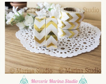 Real Washi tape gold chevron gold 10 M rice paper