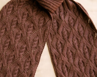 Knit Scarf Pattern:  My Favorite Cable Lace Turtleneck Scarf Knitting Pattern