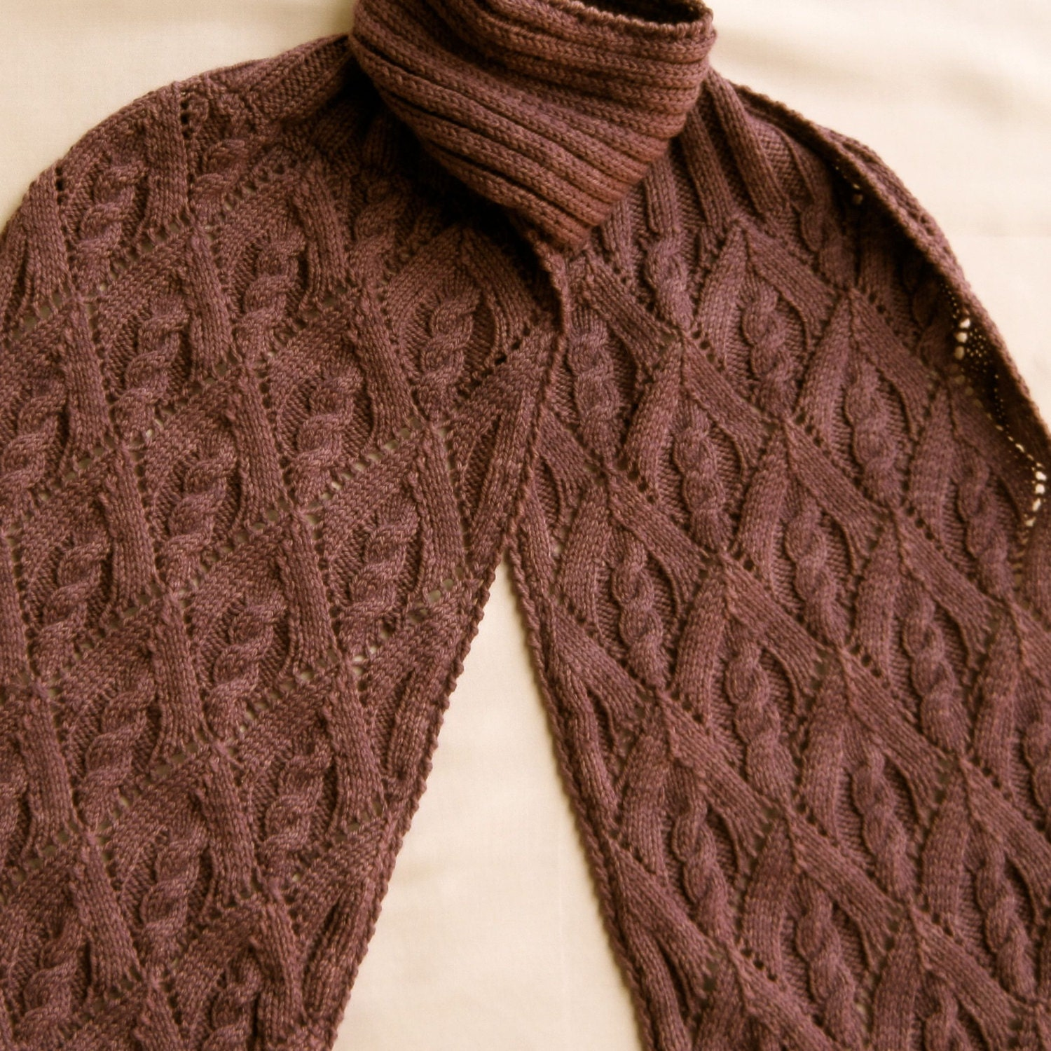 Knit Scarf Pattern: My Favorite Cable Lace Turtleneck Scarf