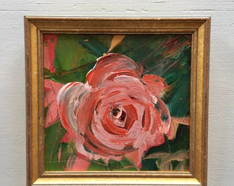 Small Rose painting-  Framed- Small Painting - Original Painting- 6-1/4  x 6-1/4 approx. inch - including Frame -  Collectible - Fine Art