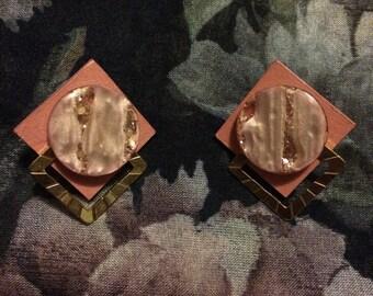 Vintage 1980s Handmade Pink Art Deco Earrings