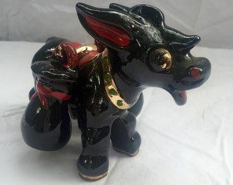 Good Luck 1950's Vintage Salt and Pepper Donkey with Gold Money Bags