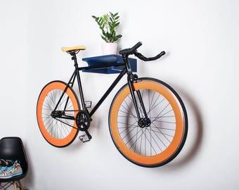 Berlin - Wooden bike shelf / bicycle holder / bike stand / Blue