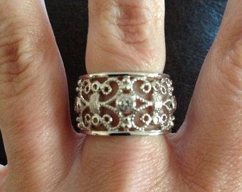 Sterling Silver And CZ Filigree Eternity Ring