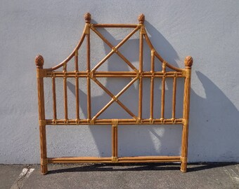 Headboard Queen Vintage Rattan Peacock Sunshine Bed Beachy Woven Wicker Chinoiserie Boho Chic Bohemian Eclectic Faux Bamboo