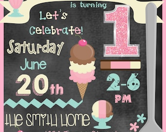 Ice Cream Birthday Invitation