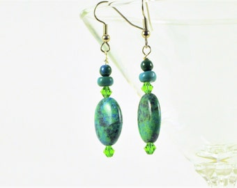Chrysocolla and Crystal Earrings, Greens and Blues, Gift for Her, Green Dangle Earrings, Drop Earrings, Beach Wear, Hypoallergenic