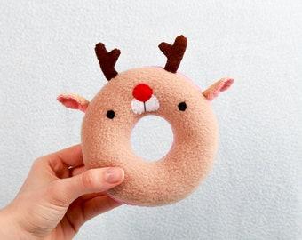 Rudolf Donut handmade plush toy cuddly toy