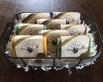8 Bars Handcrafted Purple Sage Soaps - Custom Label Gift Basket (Holiday/Special Occasion) - 70.00