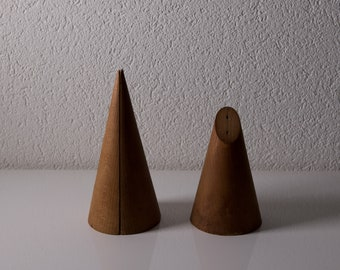 2  antique wooden geometric models Cones .
