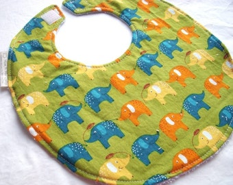 Boutique Bib for Baby or Toddler Boy - Playday Elephants on Sage