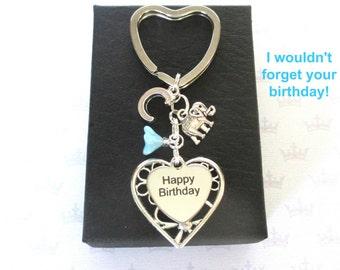 Personalised elephant keyring - Happy Birthday keyring - Elephant keychain - Initial keyring - Elephant gift - Birthday gift for friend - UK
