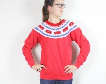 SALE Vintage Retro Red Elephant Sweater Sweatshirt Small