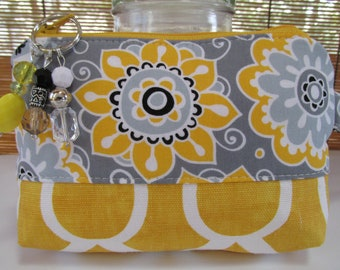 Small Yellow Geometric/Grey Floral Zipper Coin Purse, Clutch, Wristlet, Pouch