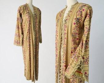 Antique Ottoman Entari Robe / Traditional Turkish Kaftan / Vintage Turkish Textile