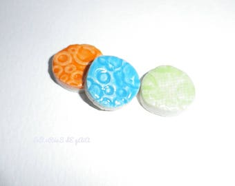 1 x set of 3 round ceramic tiles, handcrafted