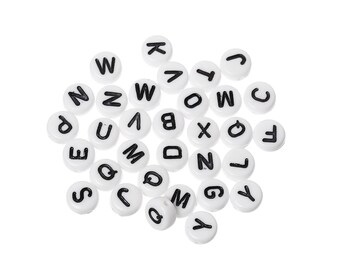 100 beads letters alphabet round black and white acrylic 7 x 3 mm