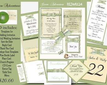 Delux Green Adventure Wedding Invitation Kit on CD