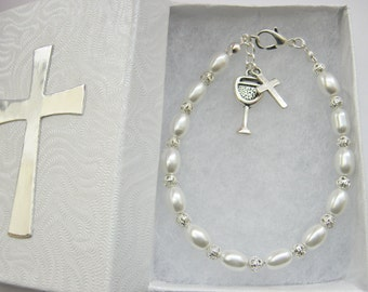 Girls First Holy Communion Bracelet, Handmade White Pearls, Children's Religious Jewelry Gift, Holy Confirmation Baptism