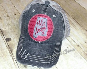 Alabama State Pride Distressed Trucker Hat