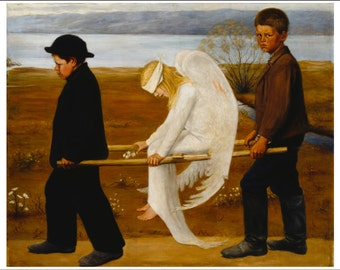 Wounded Angel ~ Hugo Simberg 1903 ~ Mystical ~ Finland ~ Haunting ~ Foreboding ~ Allegorical - Wall Art
