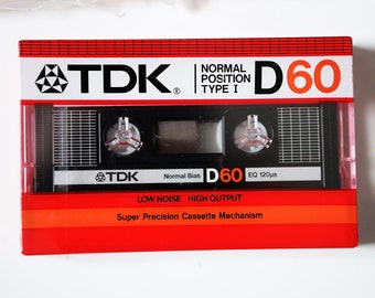TDK D60 Normal Position Type I Hifi Stereo Cassette Tapes lot 5 Brand New Sealed Music Studio Dj High Fidelity Audiophile 1980s  6